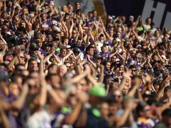 Minnesota Vikings fans cheer in the stands