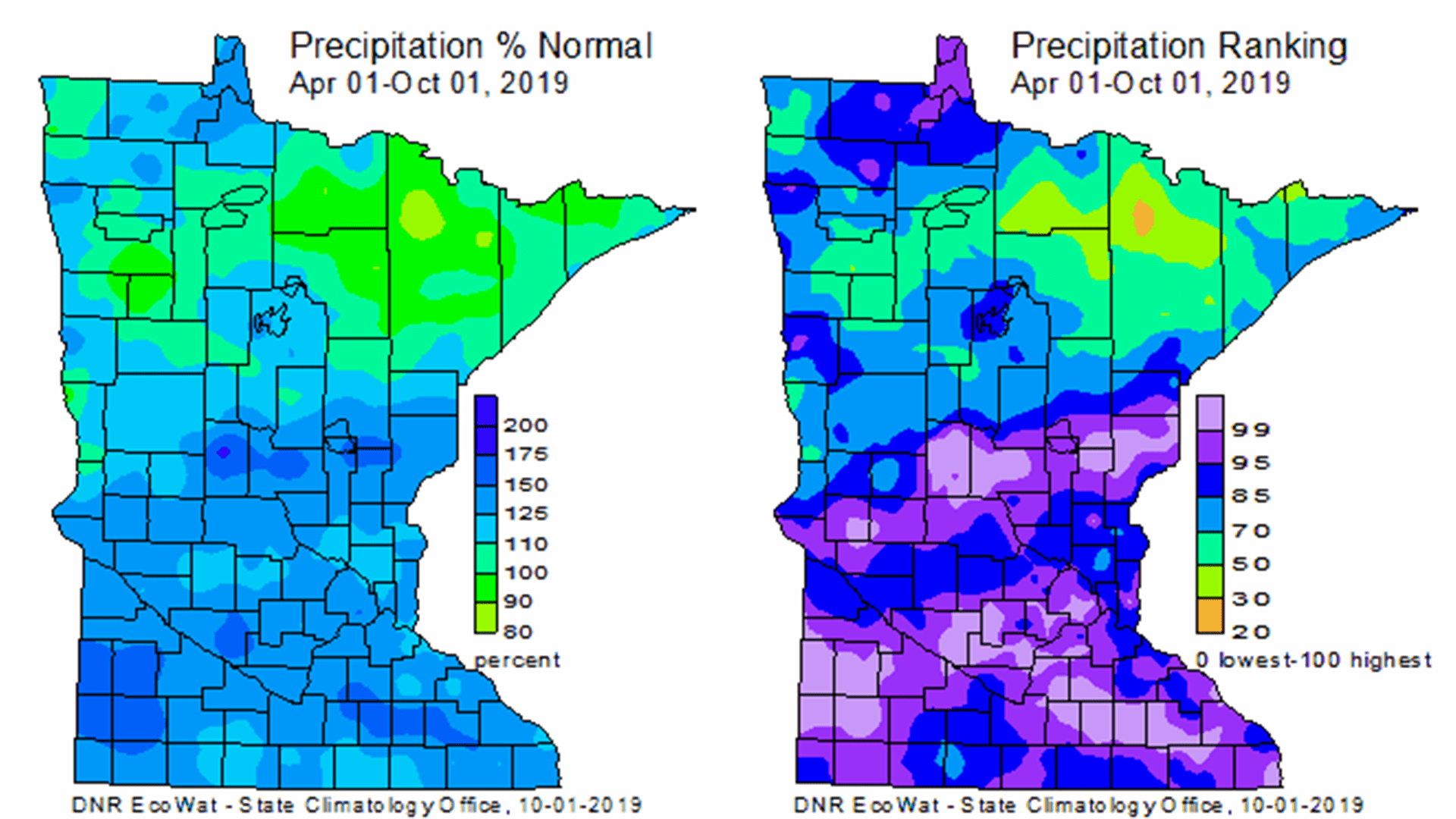 Two Minnesota precipitation maps