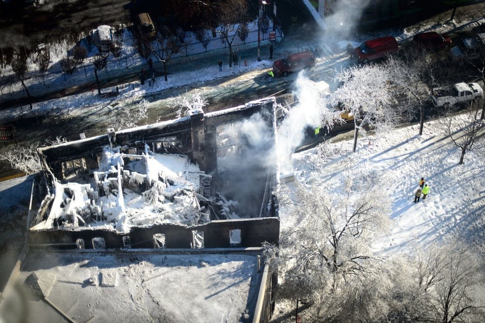 Aerial view of burned-out Mpls. building