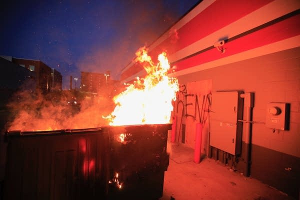 a fire in a dumpster.