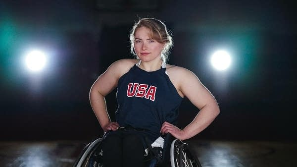 An athlete poses for a photo.