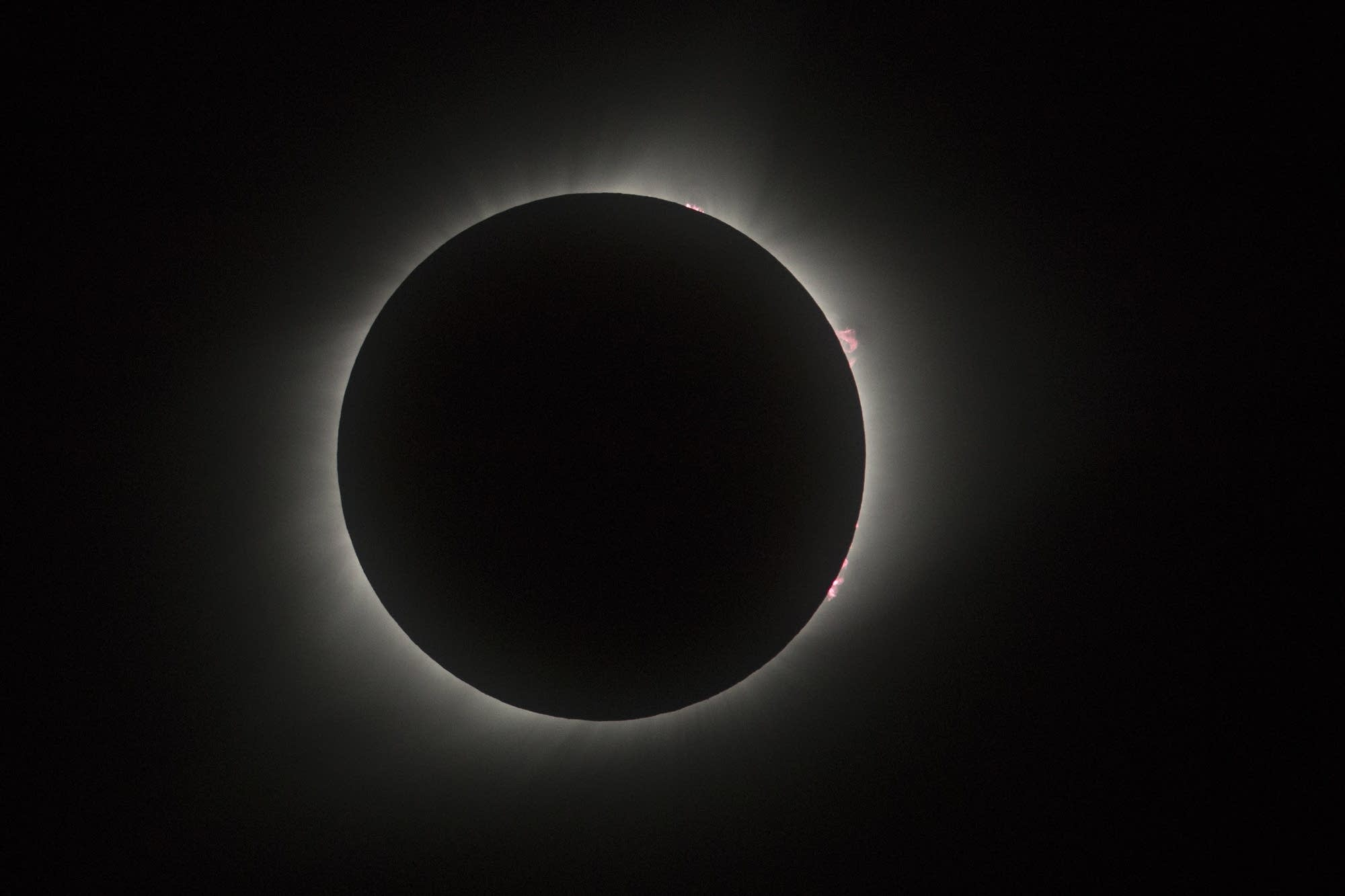 The total solar eclipse reveals the sun's corona.