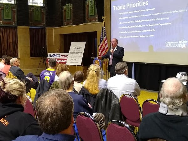 U.S. Rep. Jim Hagedorn speaks to constituents