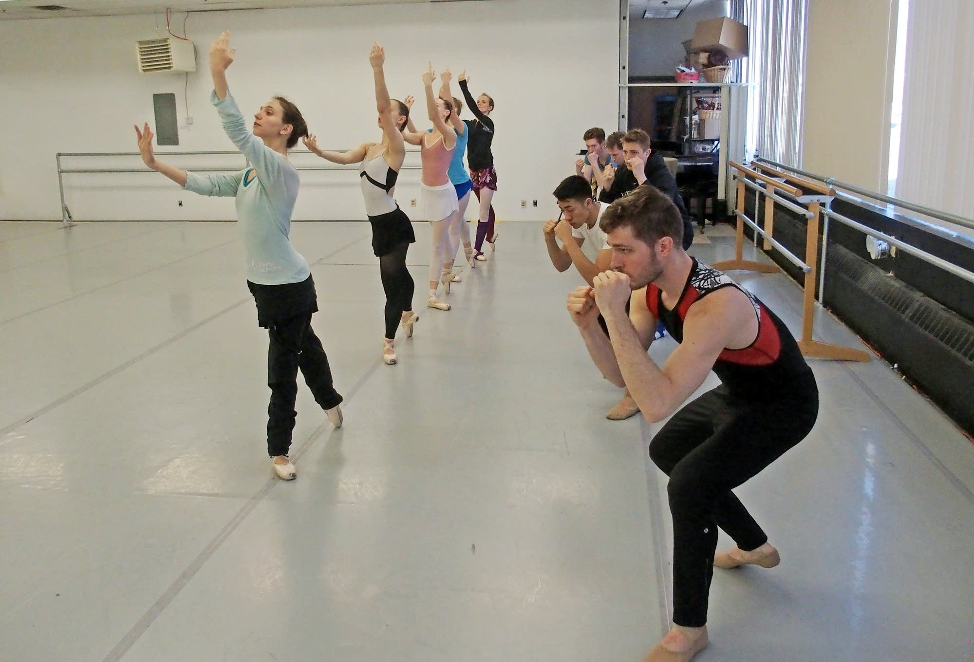 Members of the St Paul Ballet rehearse 'To Billy' in their studio.