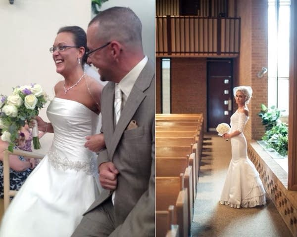 Two composite photographs of women on their wedding day.