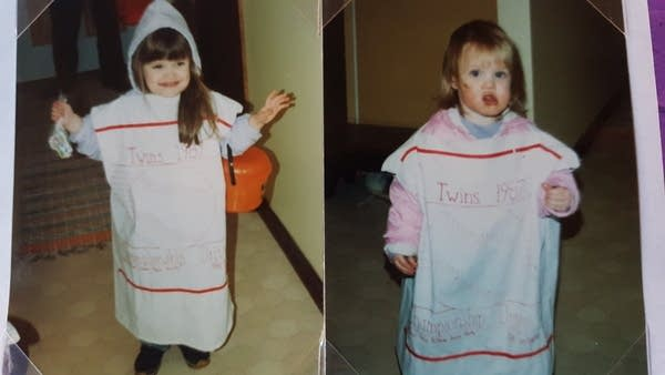 Two children dressed in costumes to look like handkerchiefs.