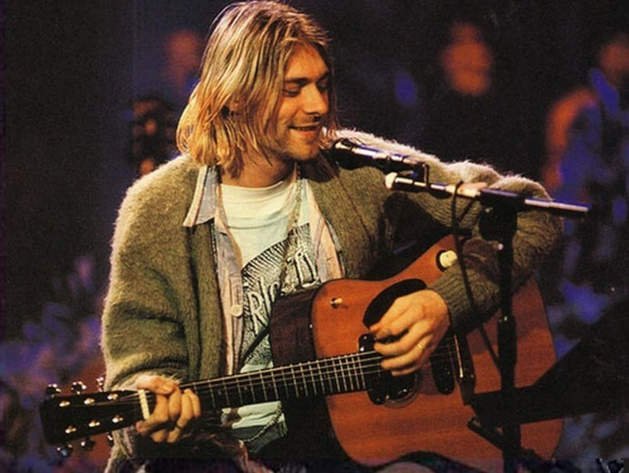 Kurt Cobain performs with Nirvana on 'MTV Unplugged' in 1993.