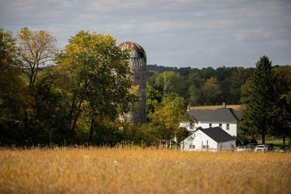 Farmland and farm fields.