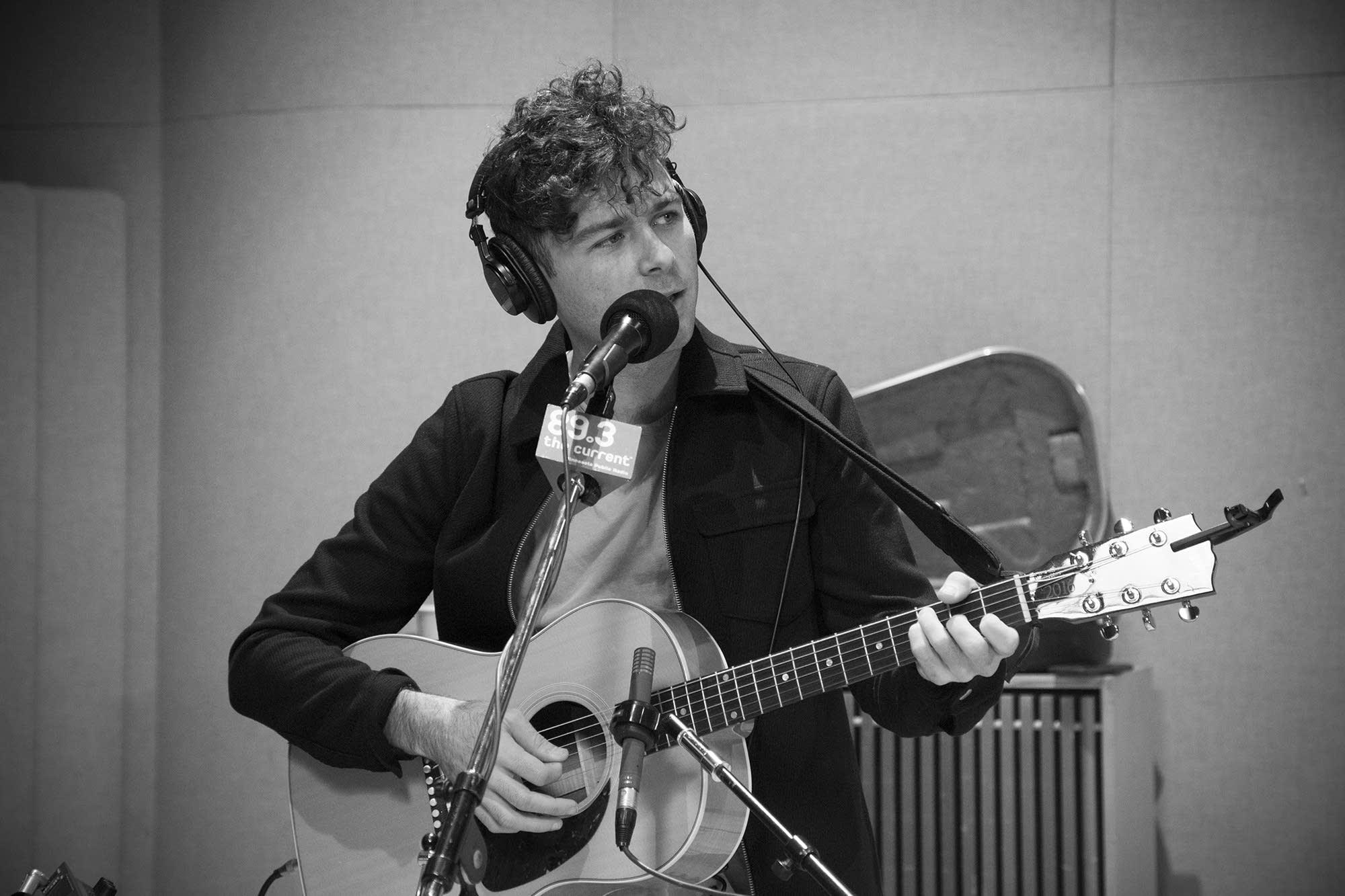 Max Kerman of Arkells in studio