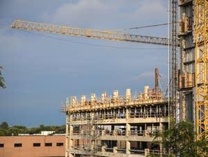 Cranes dominate the skyline in Rochester.