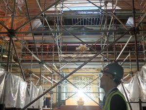 Scaffolding in the Senate chamber