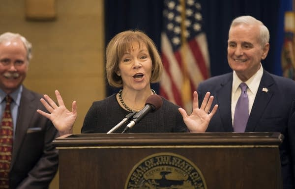Lt. Gov. Tina Smith speaks after being appointed to the U.S. Senate.