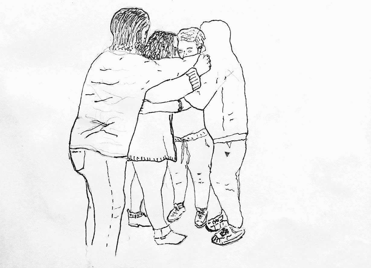 A sketch of undocumented students hugging