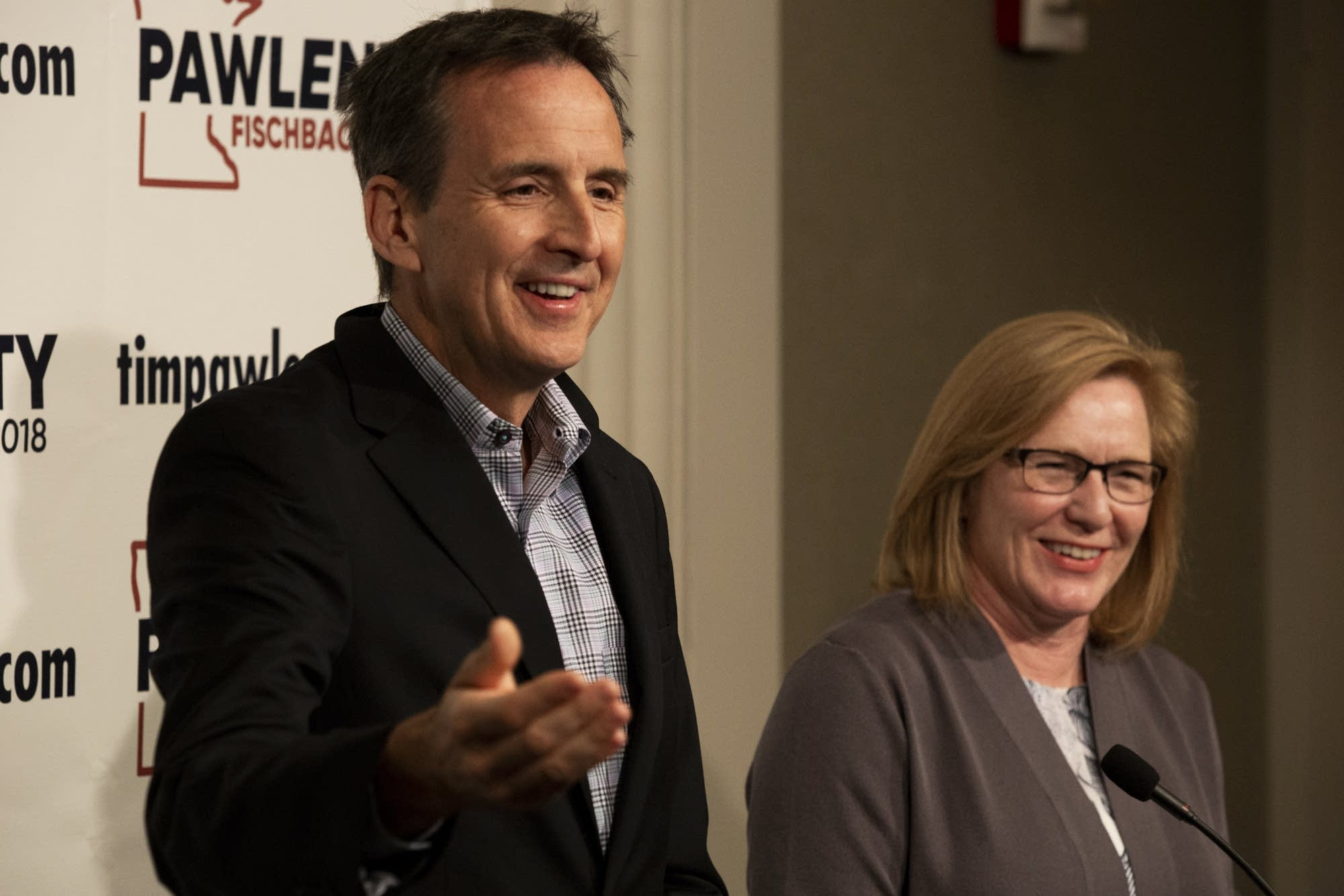 Former Gov. Tim Pawlenty and Republican Lt. Gov. Michelle Fischbach