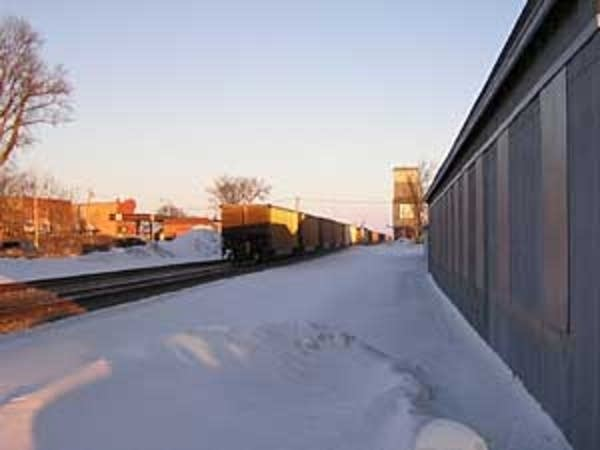 An eastbound coal train