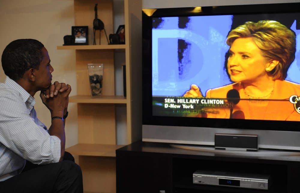 Barack Obama watches Hillary Clinton's speech