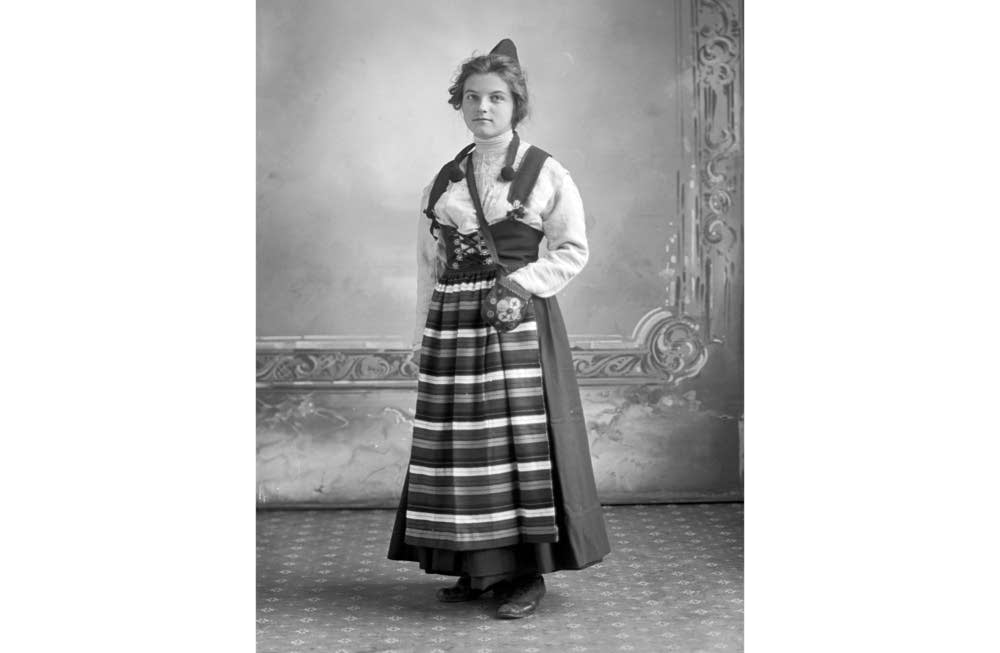 Woman in traditional Scandinavian dress