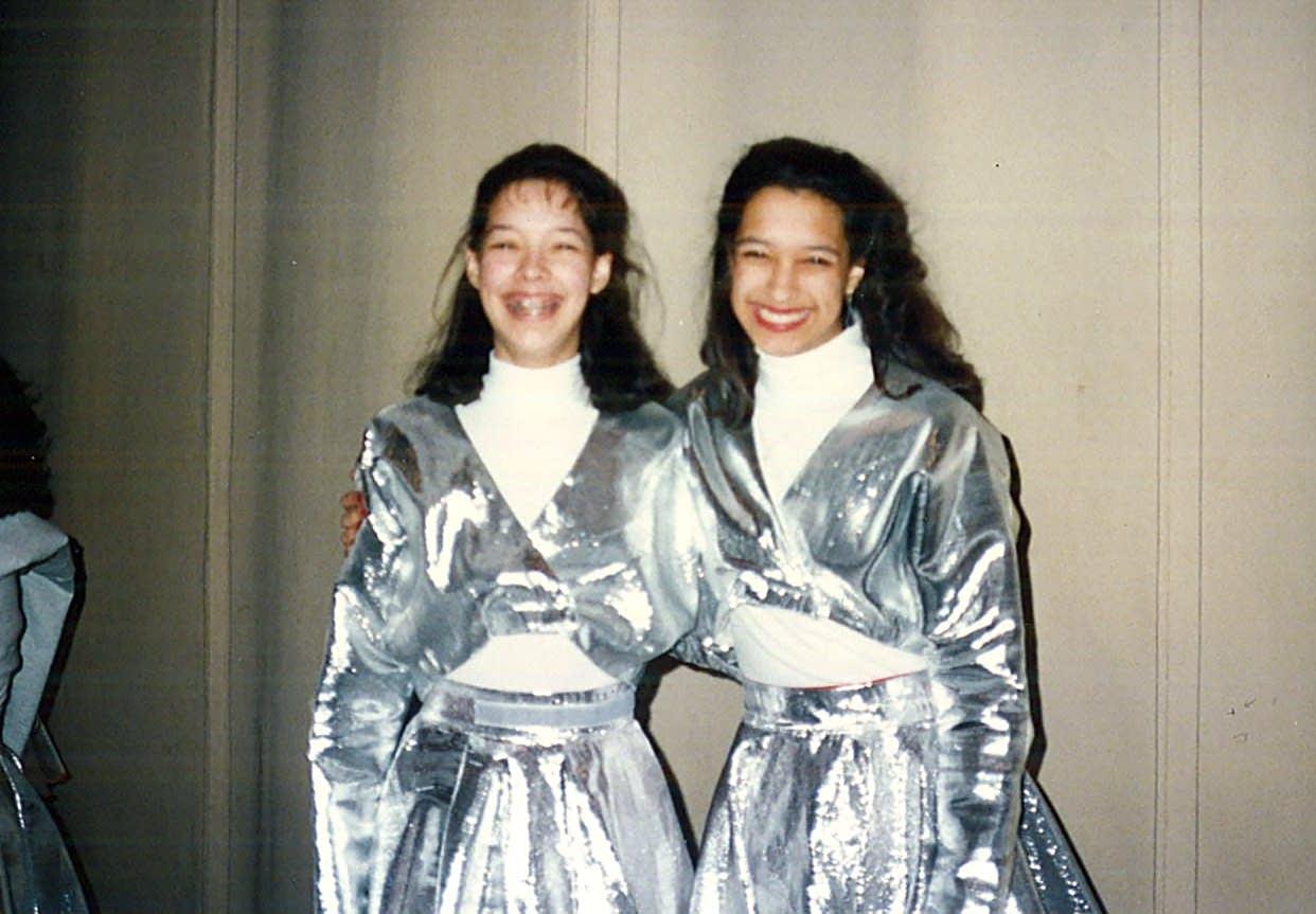 Maureen Ramirez and Julie Karlen in costume for the halftime show.