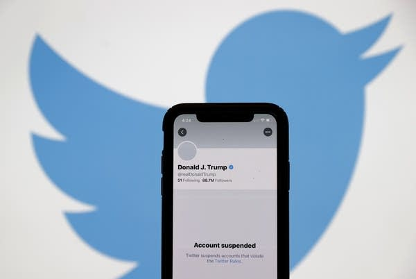 Screen of the suspended Twitter account of President Donald Trump