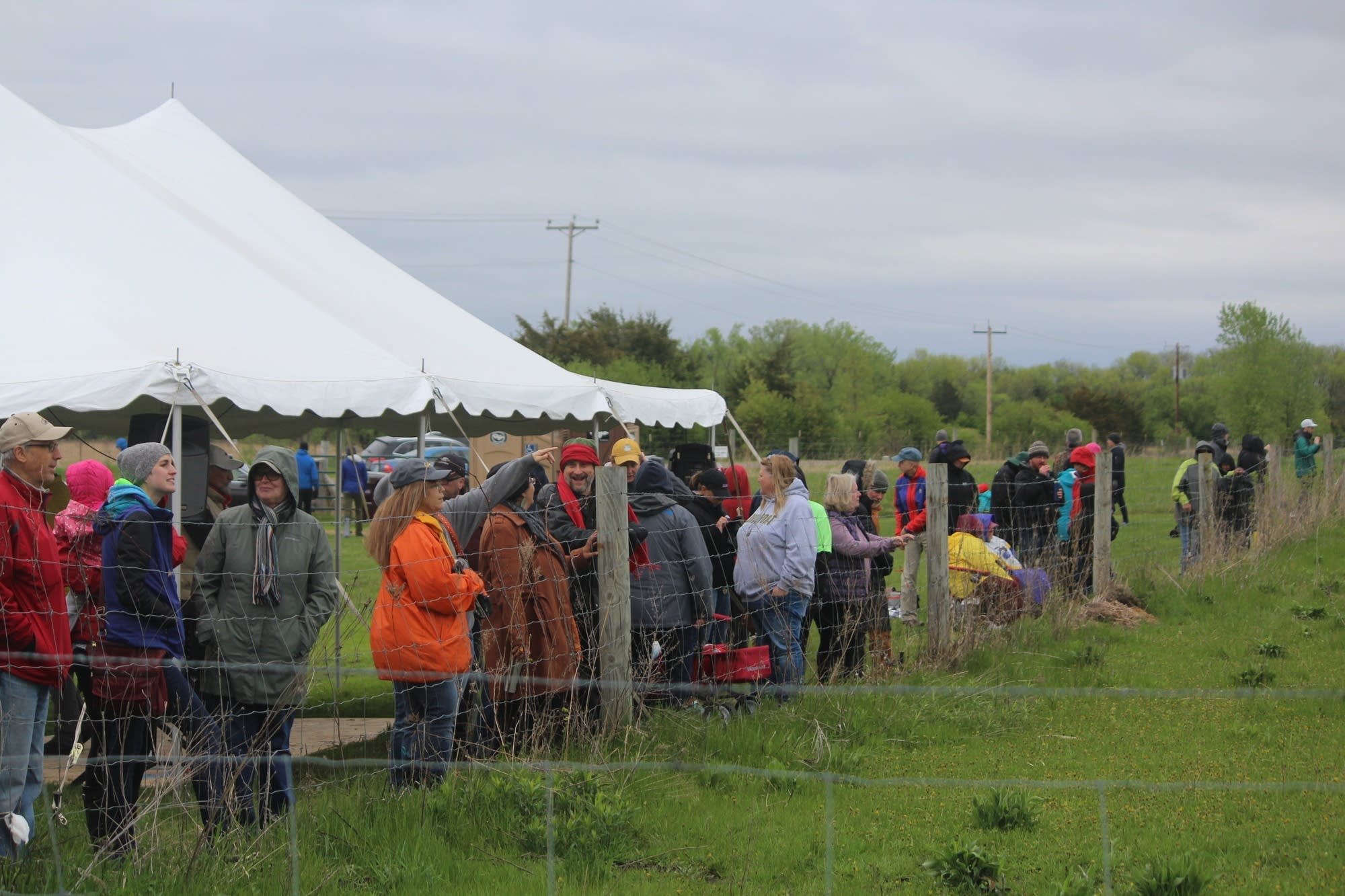 People watch a bison release at Belwin Conservancy