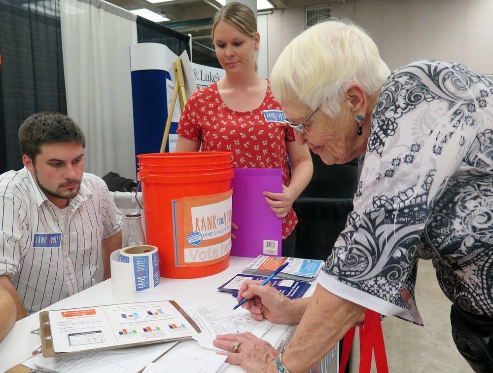 Joan Mattson voted on a mock ranked choice ballot