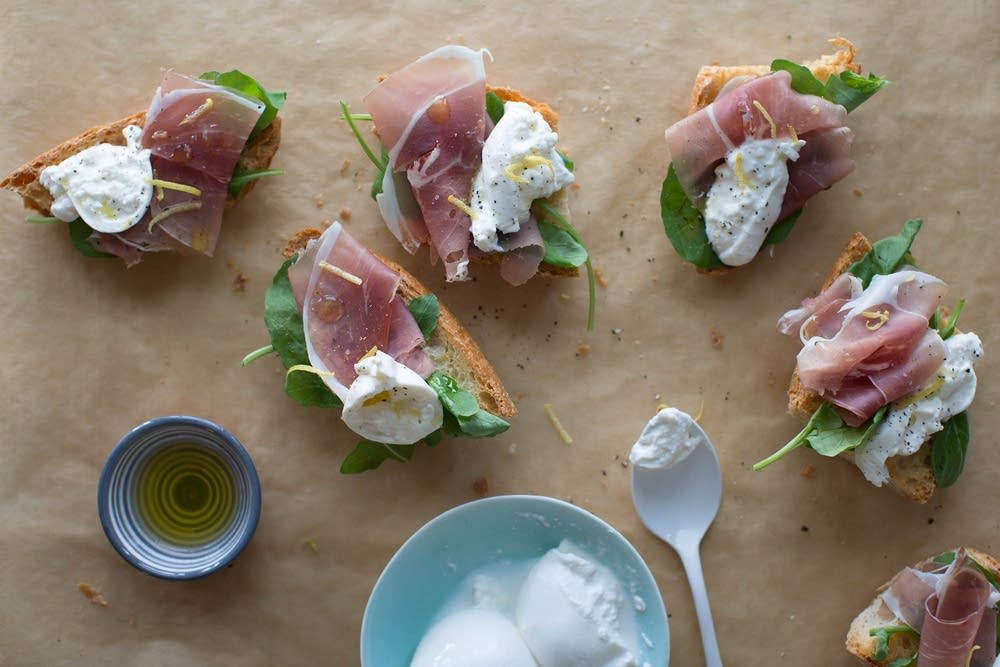Burrata and prosciutto