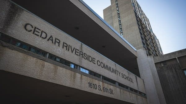 A view of the Cedar Riverside Community School facade.