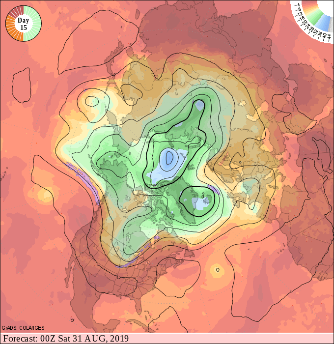 NOAA 500 millibar upper air map