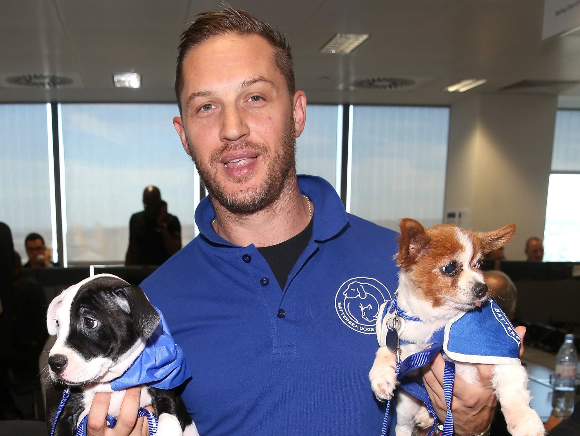 Former rapper Tom Hardy with two puppies in 2016.