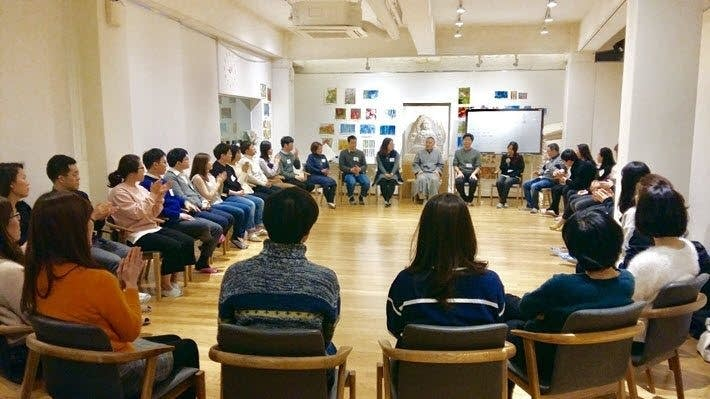 Haemin Sunim leads a session at the School of Heart in Seoul, South Korea.