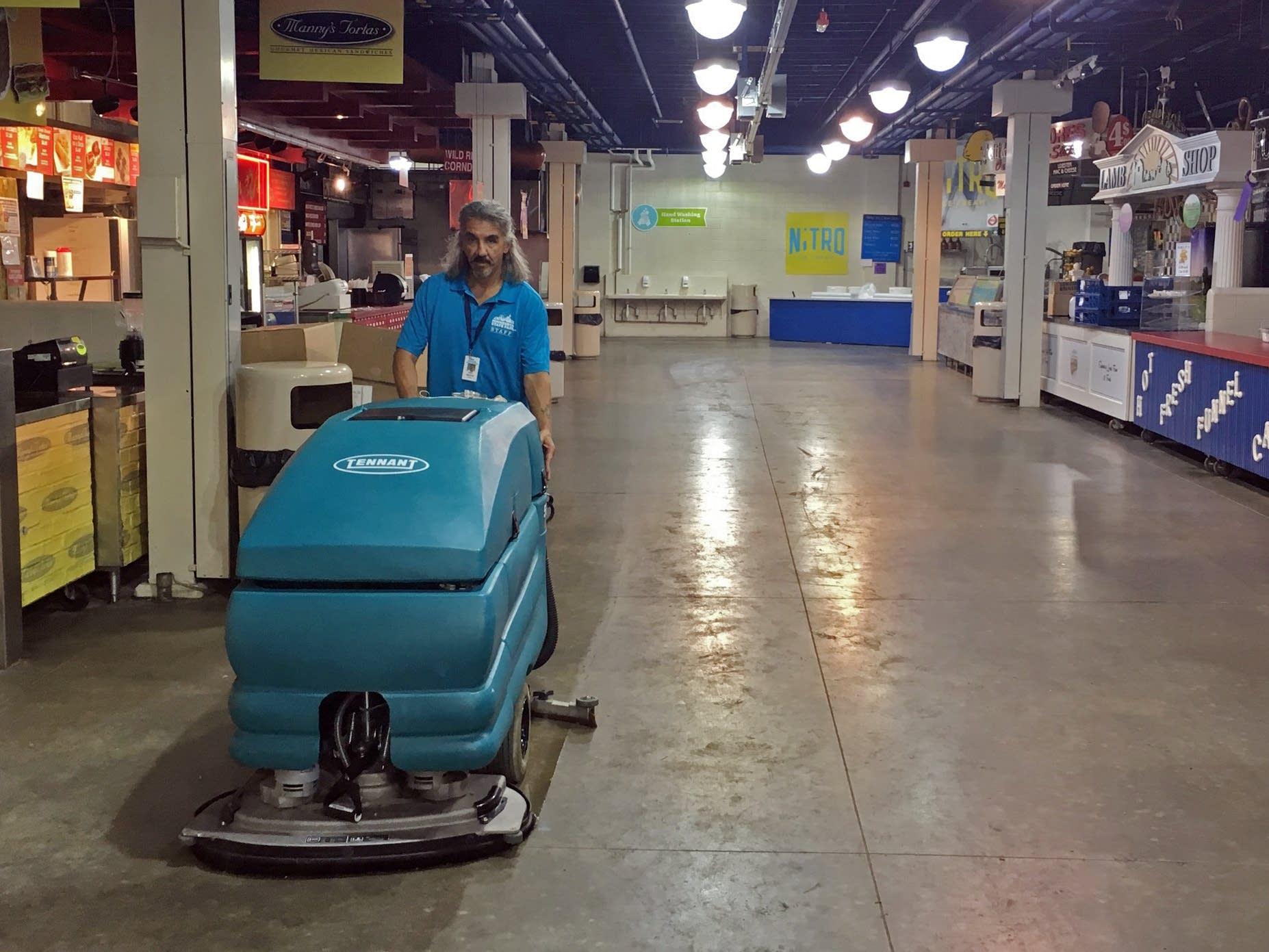 Jeffrey Martinez works the night shift cleaning.