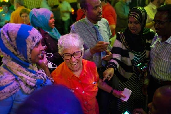 Phyllis Kahn celebrates