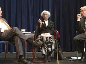 Walter Mondale (left), Josie Johnson and Gary Eichten.