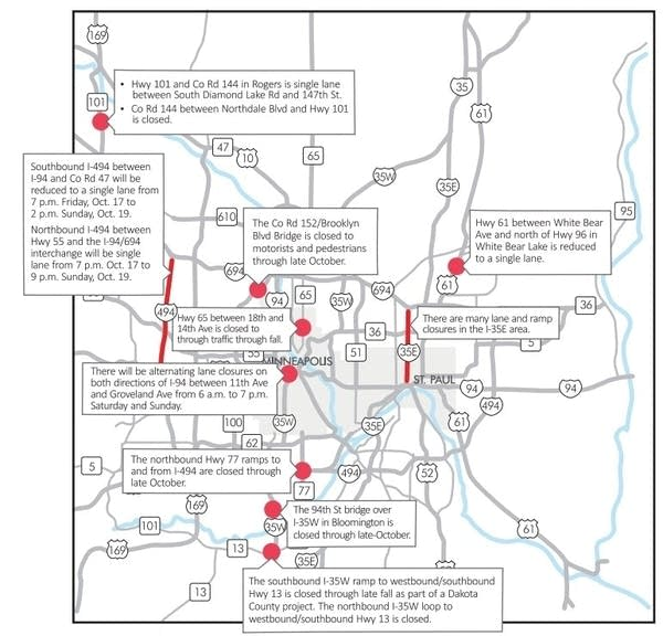 Weekend road construction closures continue | MPR News