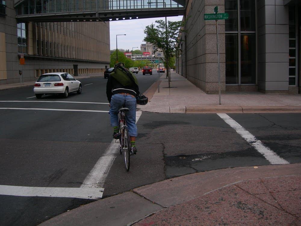 Pedro Perez bikes to work