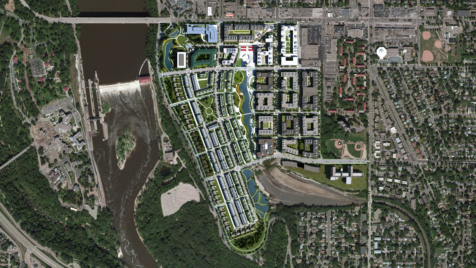 A rendering of an aerial view of Ryan Cos.' concept.