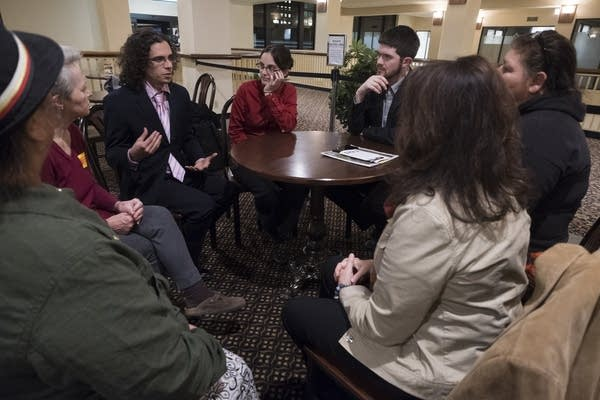 Youth climate interveners and pipeline opponents debrief together.