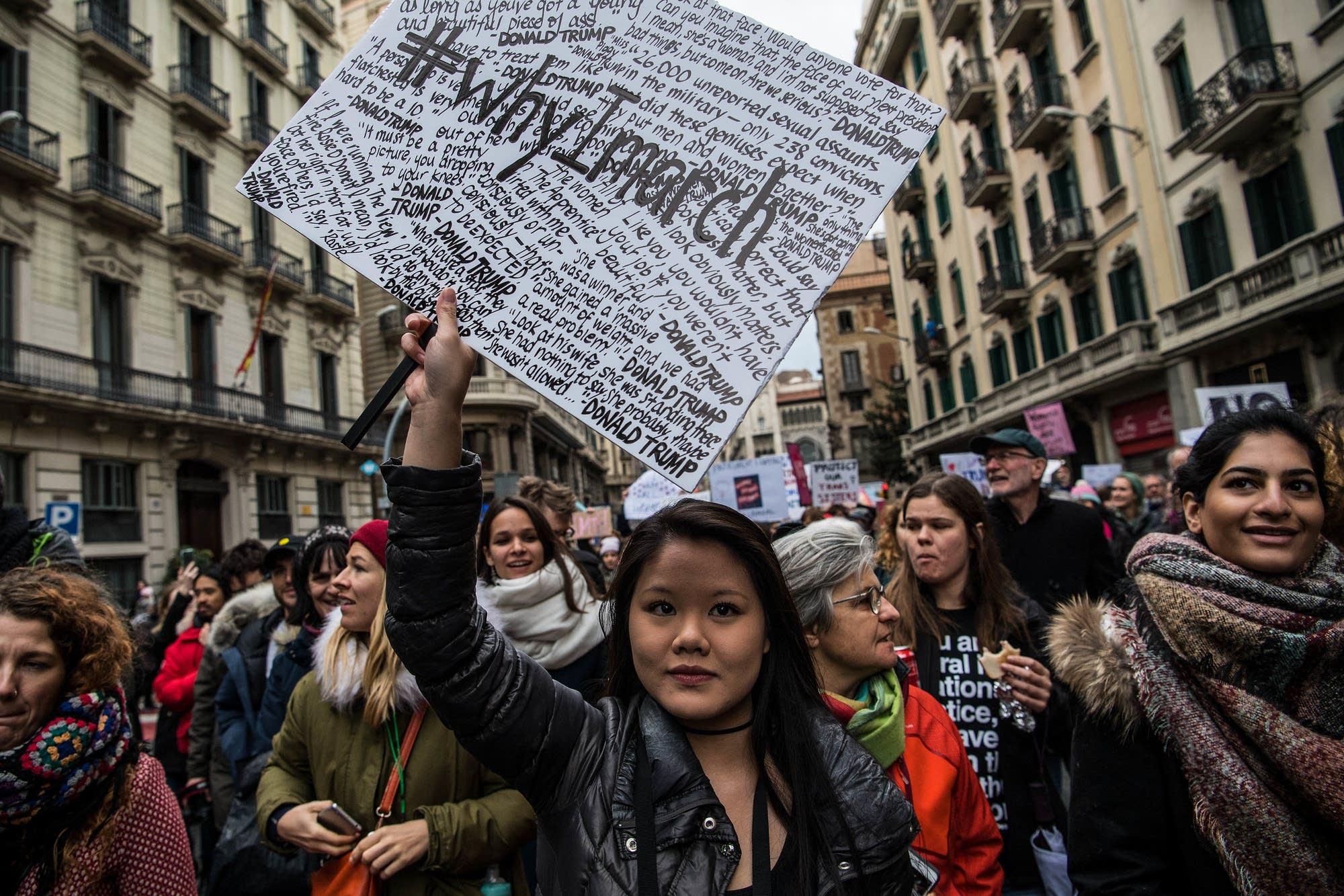 Barcelona, Spain: Demonstrators march in world solidarity.