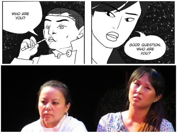 A comparison of the art of the graphic novel and the actors in the play.
