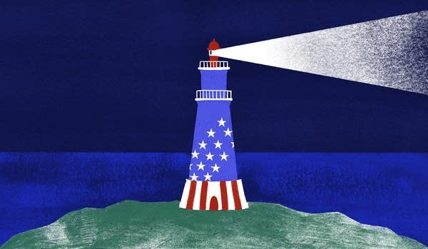 An illustration of a lighthouse decorated with stars and stripes