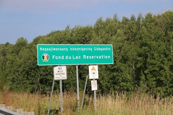 "A sign reads ""Fond du Lac Reservation"""
