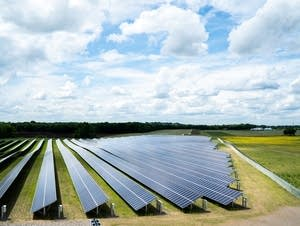The sun shines on a solar array owned by Connexus Energy.