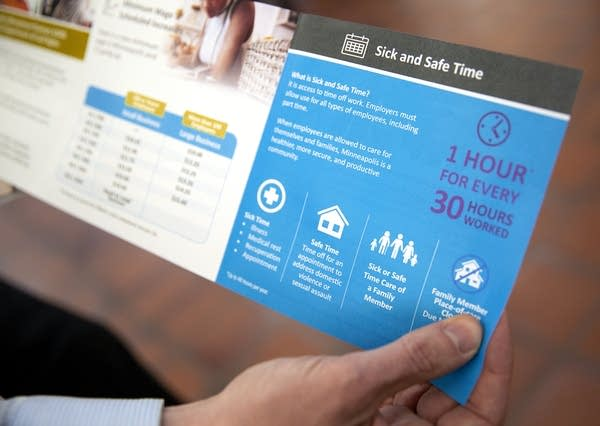 A flyer gives information about safe and sick time.