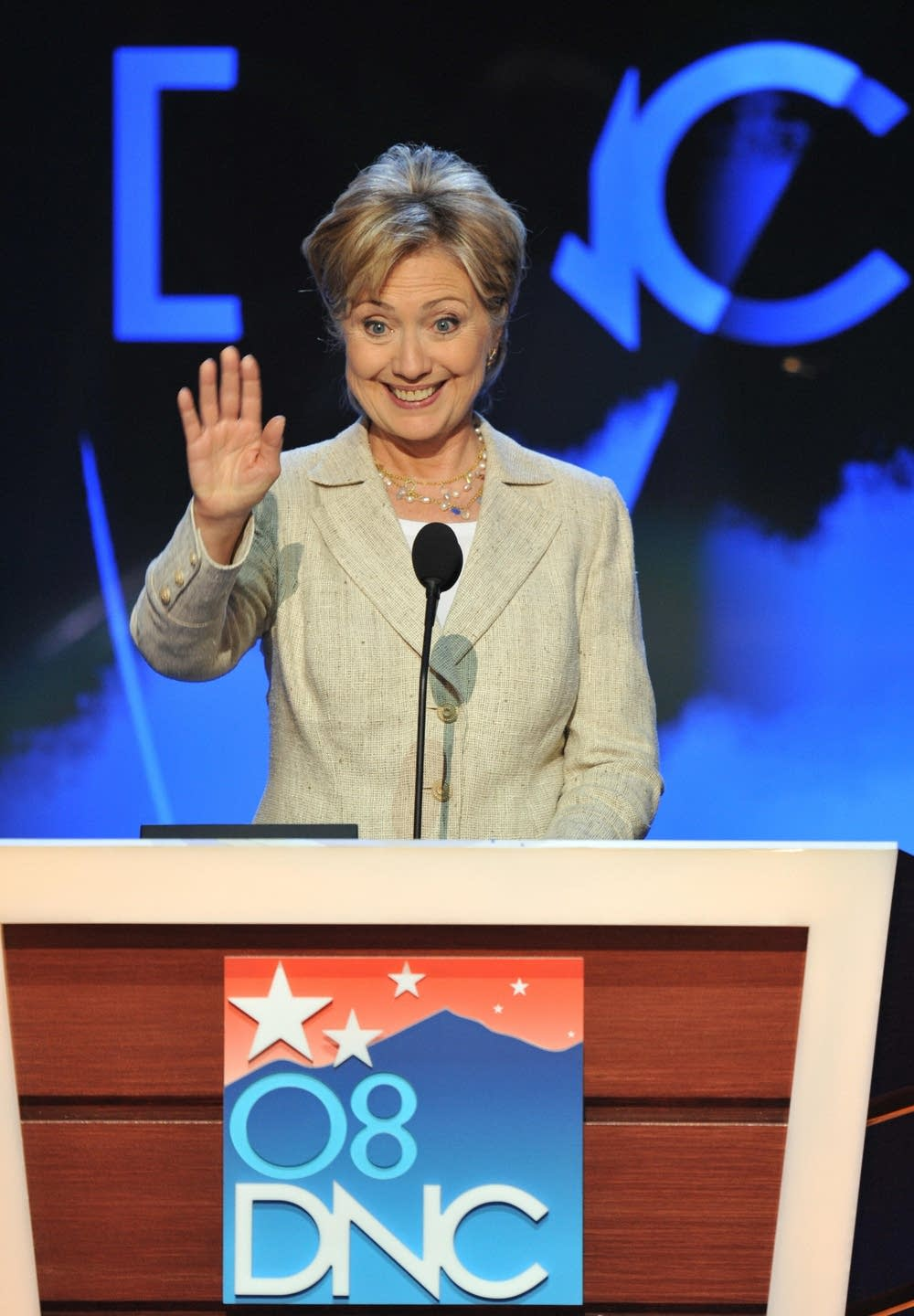 Senator Hillary Clinton on the DNC stage