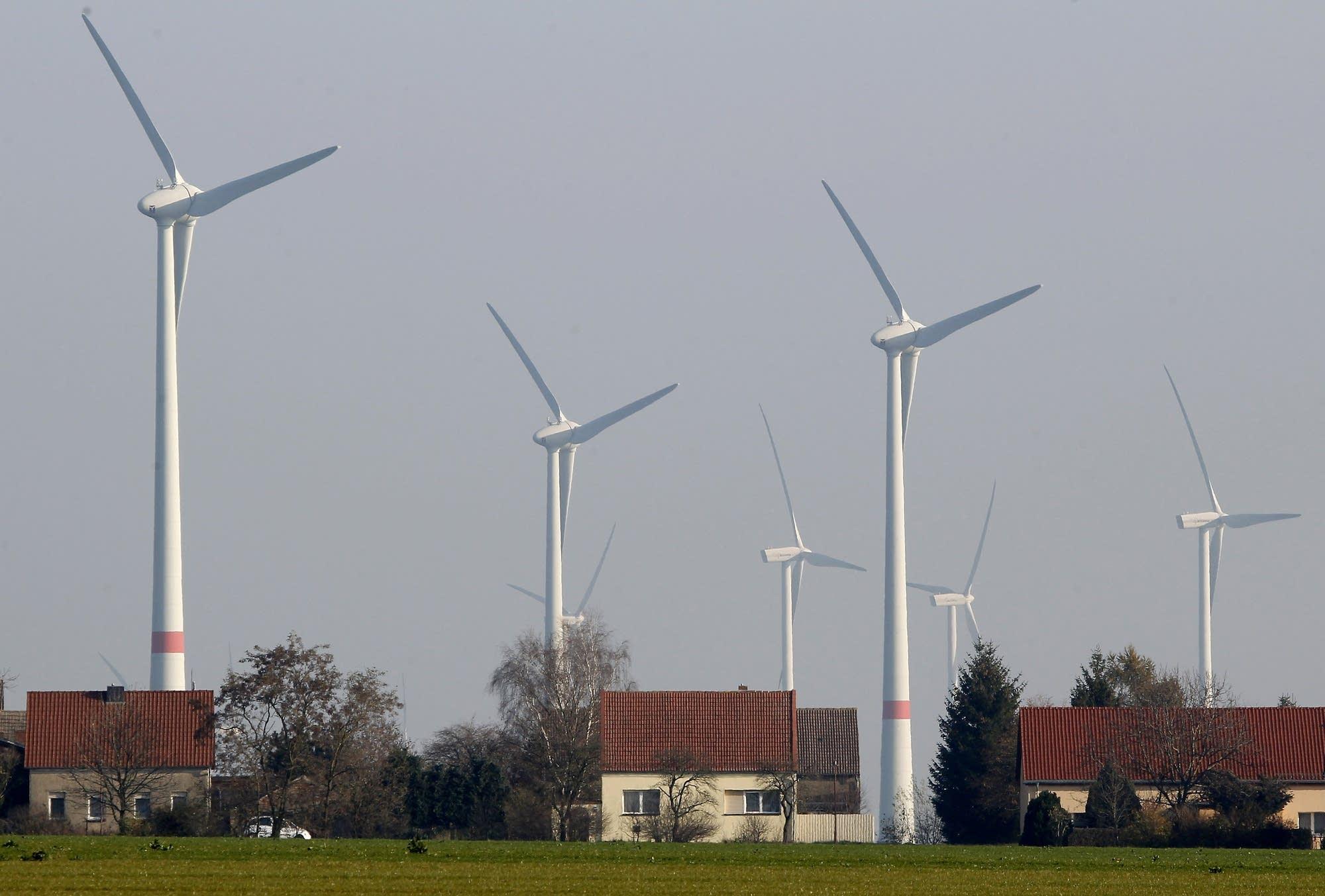 Wind turbines in a village near Berlin, Germany.