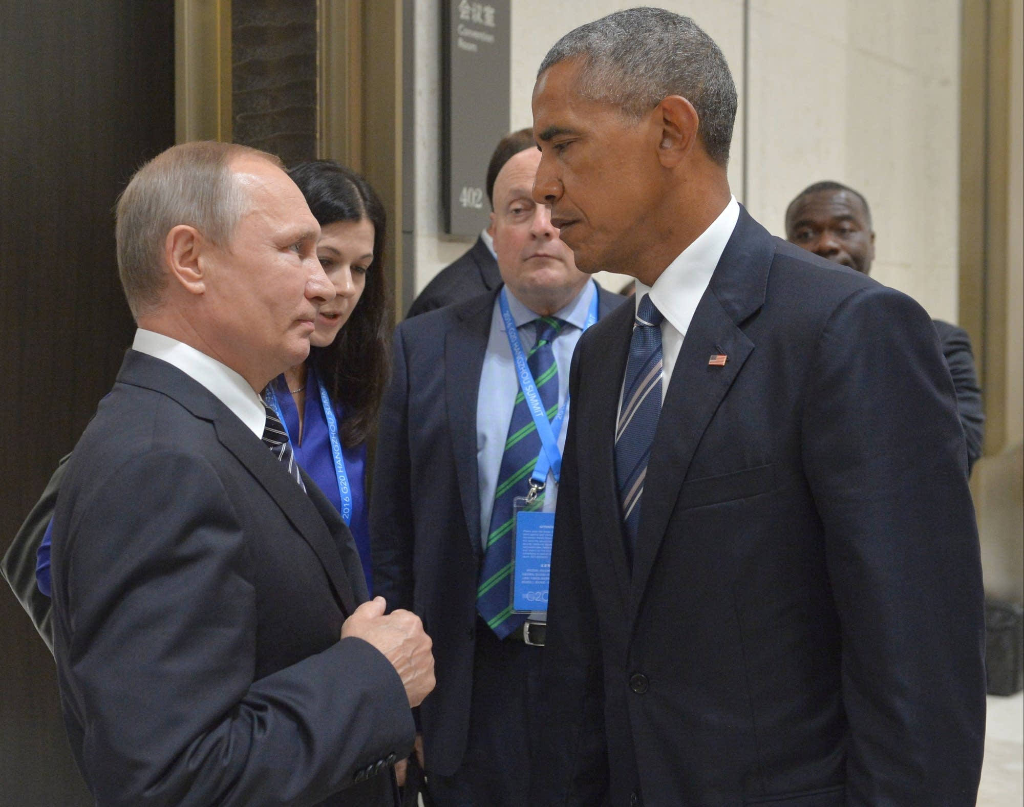 Putin says russia wont expel us diplomats in hacking flap russian president vladimir putin left speaks with us president barack obama in hangzhou in eastern chinas zhejiang province monday sept 5 2016 kristyandbryce Images