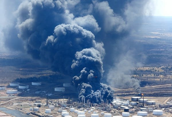 The Husky Energy refinery burns as seen from the air Thursday afternoon.