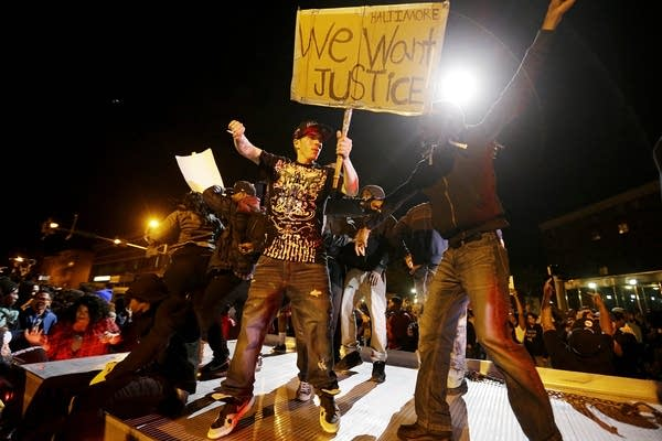 Protesters demonstrate in Baltimore