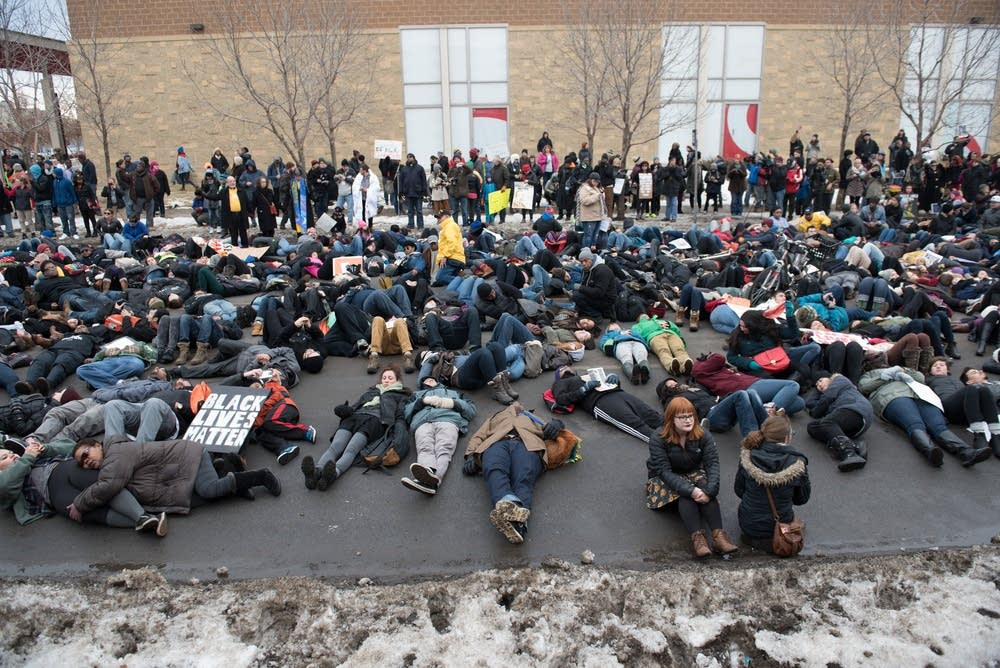 Die-in in front of a police station.
