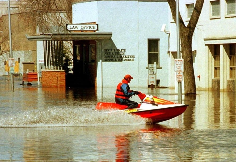 Patrolling the streets during 1997 flood